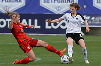 20180302 - LARNACA , CYPRUS : Austrian Sophie Maierhofer (r) pictured being tackled by Czech Tereza Kozarova (left) during a women's soccer game between Austria and Czech Republic , on friday 2 March 2018 at the AEK Arena in Larnaca , Cyprus . This is the second game in group B for Austria and Czech Republic during the Cyprus Womens Cup , a prestigious women soccer tournament as a preparation on the World Cup 2019 qualification duels. PHOTO SPORTPIX.BE | DAVID CATRY