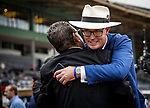 SEPT 27: Tom Ryan hugs Jimmy Barnes after Eight Rings wins the American Pharoah Stakes at Santa Anita Park in Arcadia, California on September 27, 2019. Evers/Eclipse Sportswire/CSM