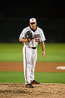 Bowie Baysox relief pitcher Reid Love (32) looks in for the sign during the second game of a doubleheader against the Trenton Thunder on June 13, 2018 at Prince George's Stadium in Bowie, Maryland.  Bowie defeated Trenton 10-1.  (Mike Janes/Four Seam Images)