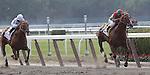 Birdrun, trained by Bill Mott and ridden by by Rajiv Maragh, wins the grade II Brooklyn Handicap at Belmont Park, Elmont, NY on June 10, 2011. Drosselmeyer (left, Jose Lezcano up), also trained by Bill Mott, finished second. (Joan Fairman Kanes/Eclipsesportswire)