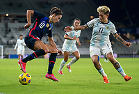 ORLANDO, FL - FEBRUARY 24: Carli Lloyd #10 of the USWNT controls the ball during a game between Argentina and USWNT at Exploria Stadium on February 24, 2021 in Orlando, Florida.
