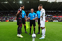 Liam Moore of Reading and Matt Grimes of Swansea City at the coin toss during the Sky Bet Championship match between Swansea City and Reading at the Liberty Stadium, Swansea, Wales, UK. Saturday 28 September 2019