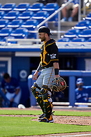 Pittsburgh Pirates catcher Joe Hudson (70) during a Major League Spring Training game against the Toronto Blue Jays on March 1, 2021 at TD Ballpark in Dunedin, Florida.  (Mike Janes/Four Seam Images)