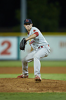 Johnson City Cardinals relief pitcher Dylan Pearce (38) in action against the Burlington Royals at Burlington Athletic Stadium on September 4, 2019 in Burlington, North Carolina. The Cardinals defeated the Royals 8-6 to win the 2019 Appalachian League Championship. (Brian Westerholt/Four Seam Images)