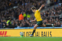 Bernard Foley of Australia takes a conversion attempt during the Semi Final of the Rugby World Cup 2015 between Argentina and Australia - 25/10/2015 - Twickenham Stadium, London<br /> Mandatory Credit: Rob Munro/Stewart Communications