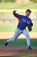 AZL Rangers relief pitcher Luke Schiltz (36) during an Arizona League game against the AZL Athletics Gold on July 15, 2019 at Hohokam Stadium in Mesa, Arizona. The AZL Athletics Gold defeated the AZL Rangers 9-8 in 11 innings. (Zachary Lucy/Four Seam Images)
