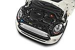 Car Stock 2015 MINI Cooper Hardtop S 4 Door Hatchback Engine high angle detail view