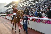 10 December 2017, Hong Kong - Zac Purton on the Tony Cruz trained TIME WARP (9) celebrates after winning Race 8, The Longines Hong Kong Cup (G1, 2000M) at Sha Tin Racecourse Hong Kong. Photo Sydney Low