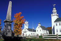 Washington, NH, New Hampshire, First Congregational Church, Center School and Meeting House in the village of Washington in the autumn.