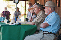 Sarah Craighead (left), superintendent of Death Valley National Park from 2009-2012, leads a panel discussion with former superintendents JT Reynolds (2001-2009; not visible in this photo), Dick Martin (1994-2001), and Ed Rothfuss (1982-1994) at the Grand Re-Opening of the Furnace Creek Visitor Center on November 4, 2012.