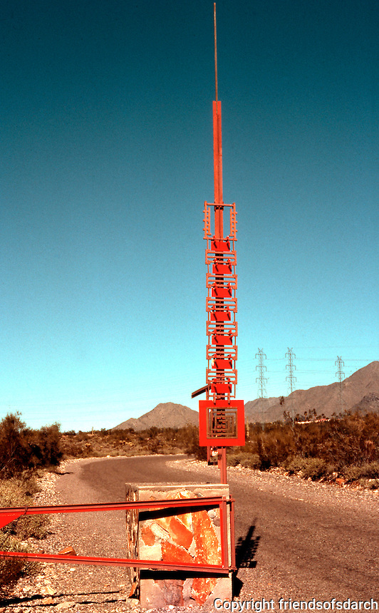 F.L. Wright: Taliesen West. Gate (about 1/2 mile from house).  Photo '77.
