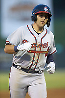 Brendan Venter (9) of the Rome Braves rounds third base after hitting a 3-run home run against the Kannapolis Intimidators at Kannapolis Intimidators Stadium on April 4, 2019 in Kannapolis, North Carolina.  The Braves defeated the Intimidators 9-1. (Brian Westerholt/Four Seam Images)