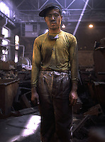 A worker at a steel factory in Shenyang, China..
