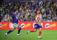 Orlando, FL - Wednesday July 31, 2019:  Diego Costa #19, Leandro Gonzalez Pirez #5 during the Major League Soccer (MLS) All-Star match between the MLS All-Stars and Atletico Madrid at Exploria Stadium.