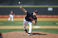 Virginia Cavaliers relief pitcher Griff McGarry (25) delivers a pitch to the plate against the Wake Forest Demon Deacons at David F. Couch Ballpark on May 19, 2018 in  Winston-Salem, North Carolina. The Demon Deacons defeated the Cavaliers 18-12. (Brian Westerholt/Four Seam Images)