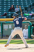 Danny Worth (8) of the Reno Aces at bat against the Salt Lake Bees in Pacific Coast League action at Smith's Ballpark on May 10, 2015 in Salt Lake City, Utah.  Reno defeated Salt Lake 11-2 in Game Two of the double-header. (Stephen Smith/Four Seam Images)