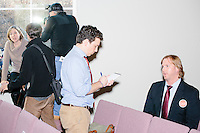 Boston Globe reporter Eric Moskowitz interviews Cruz supporter Ross Hogan, of Londonderry, NH, after Texas senator and Republican presidential candidate Ted Cruz spoke at a town hall at Crossing Life Church in Windham, New Hampshire, on Tues. Feb. 2, 2016. The day before, Cruz won the Iowa caucus.
