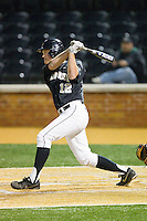 Joe Napolitano (12) of the Wake Forest Demon Deacons follows through on his swing against the West Virginia Mountaineers at Wake Forest Baseball Park on February 24, 2013 in Winston-Salem, North Carolina.  The Demon Deacons defeated the Mountaineers 11-3.  (Brian Westerholt/Four Seam Images)