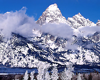 Morning winter light on the Teton Range; Grand Teton National Park, WY