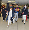 MIAMI, FL - JULY 15: (EXCLUSIVE COVERAGE) Garcelle Beauvais (L) is seen at Miami International Airport with her son Jaid Thomas Nilon and Jax Joseph Nilon on July 15, 2021 in Miami, Florida.  (Photo by Vallery Jean / jlnphotography.com )