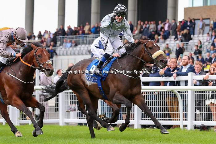 September 12, 2021: Romantic Proposal (IRE) #9, ridden by jockey Chris Hayes wins the Group 1 Flying Five Stakes on the turf on Irish Champions Weekend at Curragh Racecourse in Kildare, Ireland on September 12th, 2021. Shamela Hanley/Eclipse Sportswire/CSM
