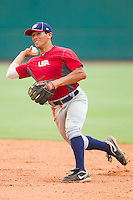 Phillip Evans #28 during the USA Baseball 18U National Team Trials at the USA Baseball National Training Center on June 30, 2010, in Cary, North Carolina.  Photo by Brian Westerholt / Four Seam Images