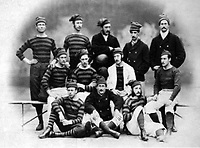 BNPS.co.uk (01202 558833)<br /> Pic: Pen&SwordBooks/BNPS<br /> <br /> Pictured: The Royal Engineers in 1874.<br /> <br /> A historian believes he has uncovered a previously unknown participant in the first ever FA Cup final.<br /> <br /> James Bancroft is convinced Lieutenant George Barker represented the Royal Engineers in the 1872 final against the Wanderers.<br /> <br /> However, he is not listed in any official records or football books written about the showpiece occasion.<br /> <br /> Mr Bancroft said he has found newspaper reports with Lt Barker on the team-sheet and he appears in full kit in the Royal Engineers post-match team photo.<br /> <br /> He outlines his theory in his new book, The Early Years of the FA Cup, which charts the rise and fall of the Royal Engineers, the only military team to win the trophy.