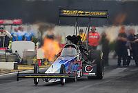 Nov. 10, 2011; Pomona, CA, USA; NHRA top fuel dragster driver Cory McClenathan during qualifying at the Auto Club Finals at Auto Club Raceway at Pomona. Mandatory Credit: Mark J. Rebilas-.