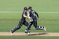 23rd February 2021, Christchurch, New Zealand;  Brooke Halliday and Lea Tahuhu of New Zealand run between wickets during the 1st ODI Cricket match, New Zealand versus England, Hagley Oval, Christchurch, New Zealand