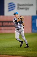 Hudson Valley Renegades second baseman Garrett Giovannelli (4) throws to first base during a game against the Connecticut Tigers on August 20, 2018 at Dodd Stadium in Norwich, Connecticut.  Hudson Valley defeated Connecticut 3-1.  (Mike Janes/Four Seam Images)