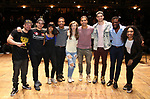 "Roddy Kennedy, David Guzman, Karla Garcia, Zelig Williams, Eliza Ohman, Anthony Lee Medina, Ryan Vasquez, Michael Luwoye and Jennie Harney from the 'Hamilton' cast during a Q & A before The Rockefeller Foundation and The Gilder Lehrman Institute of American History sponsored High School student #EduHam matinee performance of ""Hamilton"" at the Richard Rodgers Theatre on June 6, 2018 in New York City."