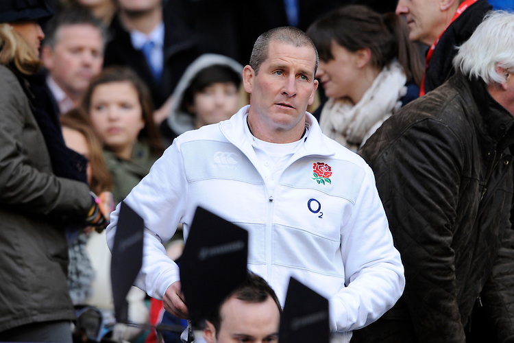 Stuart Lancaster, England Team Manager, during the RBS 6 Nations match between England and Scotland at Twickenham on Saturday 02 February 2013 (Photo by Rob Munro)