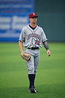 Mahoning Valley Scrappers outfielder Will Brennan (22) warms up before a NY-Penn League game against the Auburn Doubledays on August 27, 2019 at Falcon Park in Auburn, New York.  Auburn defeated Mahoning Valley 3-2 in ten innings.  (Mike Janes/Four Seam Images)