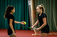 Wateringen, The Netherlands, December 15,  2019, De Rhijenhof , NOJK juniors doubles 12/14/16  years, Britt Du Pree (NED) and Lina Ilahi (NED) (L)<br /> Photo: www.tennisimages.com/Henk Koster