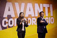 Former premier Giuseppe Conte and Virginia Raggi on the stage during the closing of the election campaign for the new mayor of the Rome.<br /> Rome (Italy), October 1st 2021<br /> Photo Samantha Zucchi Insidefoto