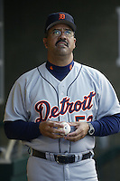 Detroit Tigers Manager Luis Pujols before a 2002 MLB season game against the Los Angeles Angels at Angel Stadium, in Anaheim, California. (Larry Goren/Four Seam Images)