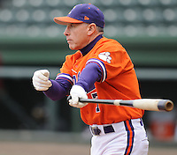 Head coach Jack Leggett (7) of the Clemson Tigers prior to a game against the South Carolina Gamecocks on Saturday, March 2, 2013, at Fluor Field at the West End in Greenville, South Carolina. Clemson won the Reedy River Rivalry game 6-3. (Tom Priddy/Four Seam Images)