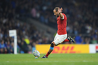 Frédéric Michalak of France converts the try scored by Rabah Slimani of France during Match 5 of the Rugby World Cup 2015 between France and Italy - 19/09/2015 - Twickenham Stadium, London <br /> Mandatory Credit: Rob Munro/Stewart Communications