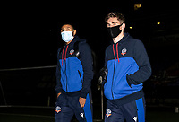 Bolton Wanderers' Brandon Comley (left) and Jak Hickman arriving at the stadium <br /> <br /> Photographer Andrew Kearns/CameraSport<br /> <br /> EFL Papa John's Trophy - Northern Section - Group C - Bolton Wanderers v Newcastle United U21 - Tuesday 17th November 2020 - University of Bolton Stadium - Bolton<br />  <br /> World Copyright © 2020 CameraSport. All rights reserved. 43 Linden Ave. Countesthorpe. Leicester. England. LE8 5PG - Tel: +44 (0) 116 277 4147 - admin@camerasport.com - www.camerasport.com