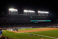 General view of the national anthem before Game 3 of the Major League Baseball World Series between the Cleveland Indians and Chicago Cubs on October 28, 2016 at Wrigley Field in Chicago, Illinois.  (Mike Janes/Four Seam Images)
