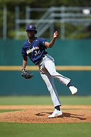 Pitcher Camron Hill (36) of The Citadels Baseball Academy in Fayetteville, GA playing for the Milwaukee Brewers scout team during the East Coast Pro Showcase at the Hoover Met Complex on August 2, 2020 in Hoover, AL. (Brian Westerholt/Four Seam Images)