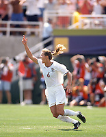 Brandi Chastain after scoring on a penalty kick to win the match against China. .Women's World Cup 1999, Pasadena, California, July 10, 1999.
