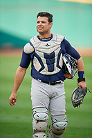 Scranton/Wilkes-Barre RailRiders catcher Eddy Rodriguez (45) walks to the dugout before the first game of a doubleheader against the Rochester Red Wings on August 23, 2017 at Frontier Field in Rochester, New York.  Rochester defeated Scranton 5-4 in a game that was originally started on August 22nd but was was postponed due to inclement weather.  (Mike Janes/Four Seam Images)