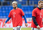 St Johnstone v Celtic…07.10.18…   McDiarmid Park    SPFL<br />Richard Foster and Liam Craig wearing Show Racism the Red Card t-shirts during the warm-up<br />Picture by Graeme Hart. <br />Copyright Perthshire Picture Agency<br />Tel: 01738 623350  Mobile: 07990 594431
