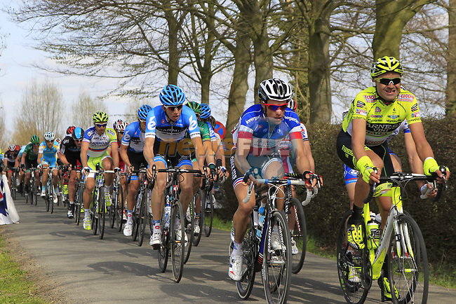 The peloton including Sylvain Chavanel (FRA) Omega Pharma-Quickstep approach the start of the Oude Kwaremont climb during the 96th edition of The Tour of Flanders 2012, running 256.9km from Bruges to Oudenaarde, Belgium. 1st April 2012. <br /> (Photo by Eoin Clarke/NEWSFILE).