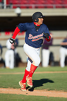 Drew Bullock (73) of Grassfield High School in Chesapeake, Virginia playing for the Atlanta Braves scout team at the South Atlantic Border Battle at Doak Field on November 2, 2014.  (Brian Westerholt/Four Seam Images)