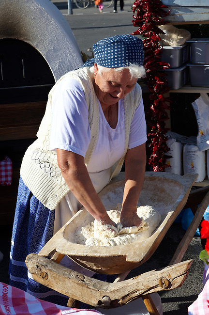 Women from Dél Alfodi Régio (South Alfoldi ) preparing dough for Lepeny -  Hungarian Regional Gastronomic Festival 2009 - Gyor ( Gy?r ) Hungary