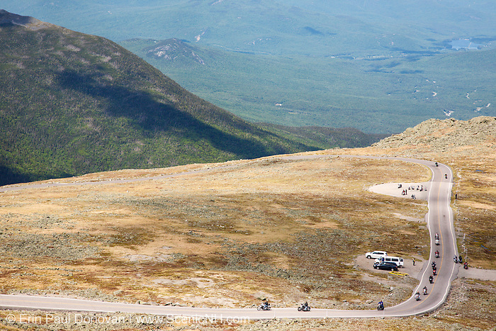 Motorcycles along the autoroad on the summit of Mount Washington in the White Mountains of New Hampshire USA.