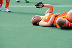 The Hague, Netherlands, June 14: Kelly Jonker #10 of The Netherlands lies injured on the pitch during the field hockey gold medal match (Women) between Australia and The Netherlands on June 14, 2014 during the World Cup 2014 at Kyocera Stadium in The Hague, Netherlands. Final score 2-0 (2-0)  (Photo by Dirk Markgraf / www.265-images.com) *** Local caption ***