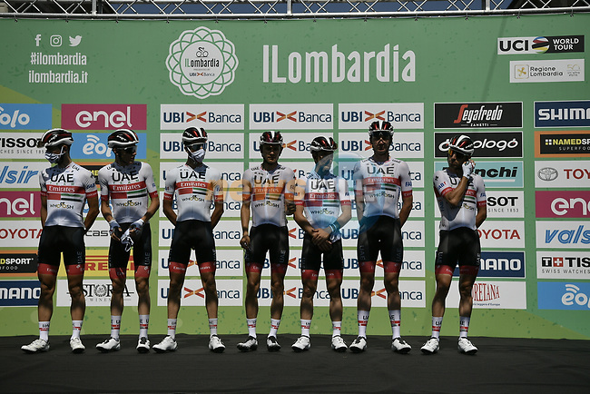 UAE Team Emirates at sign on before the start of the 114th edition of Il Lombardia 2020, running 231km from Bergamo to Como, Italy. 15th August 2020.<br /> Picture: LaPresse/Marco Alpozzi | Cyclefile<br /> <br /> All photos usage must carry mandatory copyright credit (© Cyclefile | LaPresse/Marco Alpozzi)